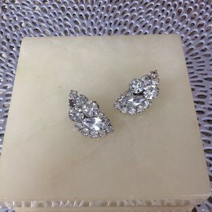 Vintage Large Rhinestone Clip Earrings